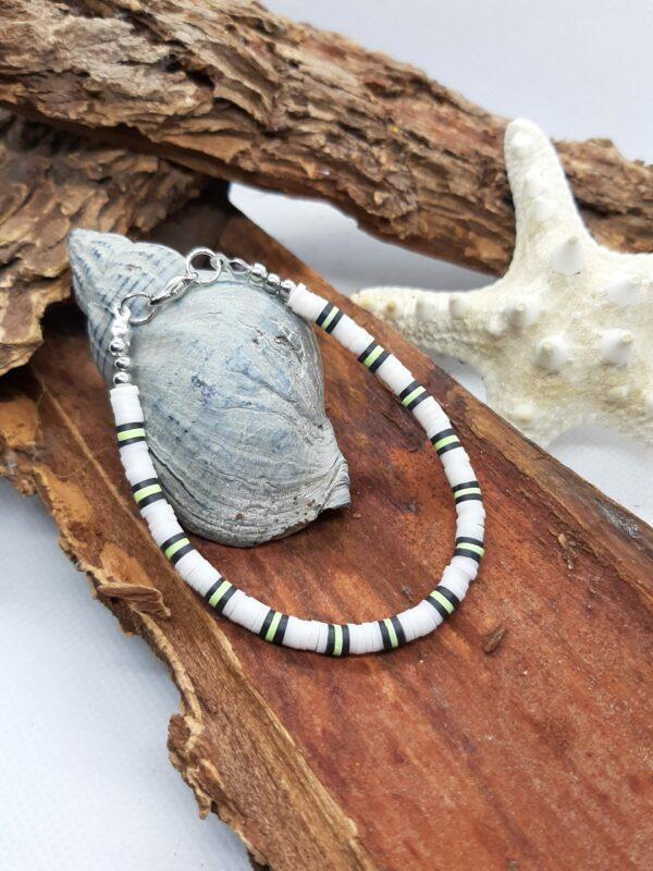 Polymeer, wit/ zwart/ groen, armband