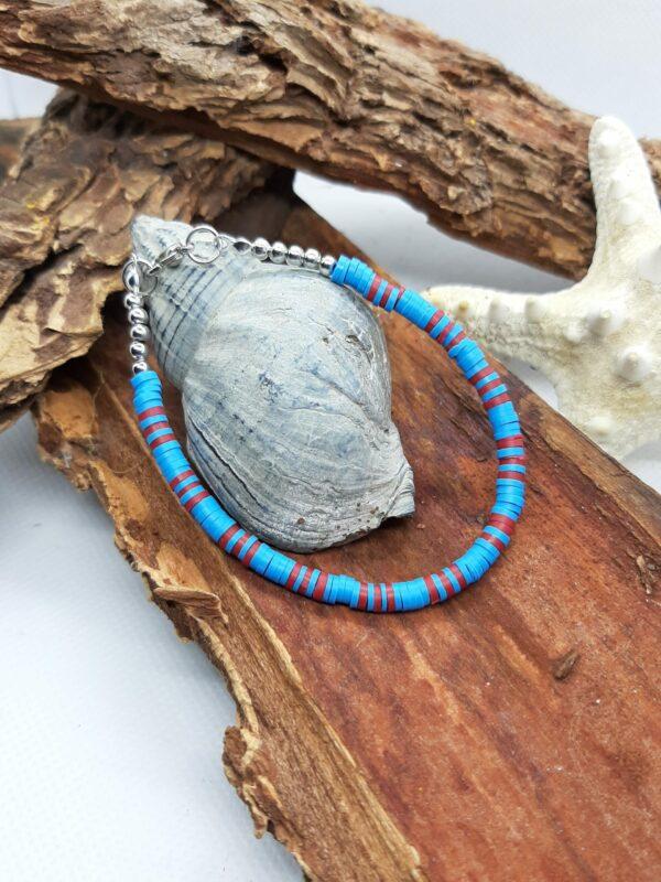 Polymeer, blauw, rood, armband