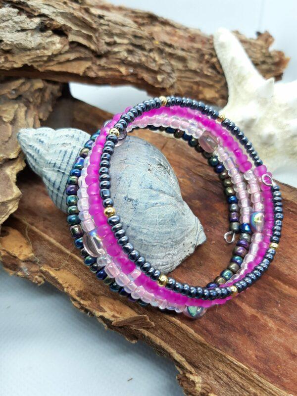 Wikkelarmband, roze/ zwart, rocailles