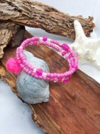 Wikkelarmband, rocailles, roze