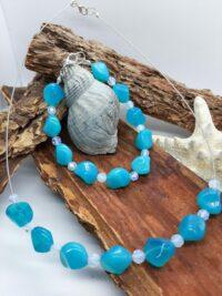 Ketting, blauw, glaskralen, armband, set