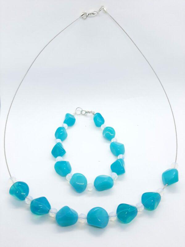 Ketting, blauw, glaskralen