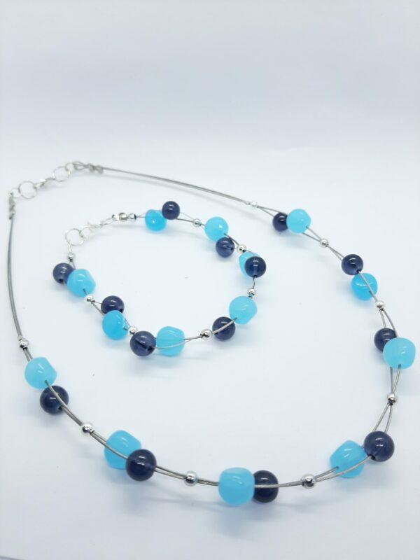 Glaskralen, ketting, blauw