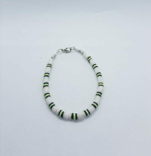 Polymeer, wit/zwart/groen, armband