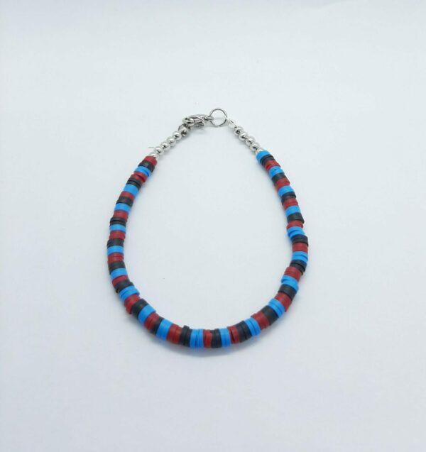 Armband, polymeer, blauw, rooc