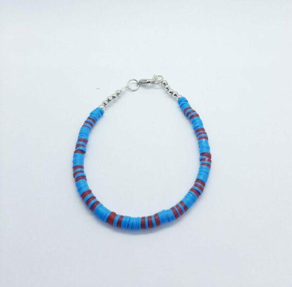 Polymeer, armband, blauw, rood