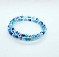 Wikkelarmband, blauw, metalen kralen, rocailles, glaskralen, glasparels, facetkraaltjes