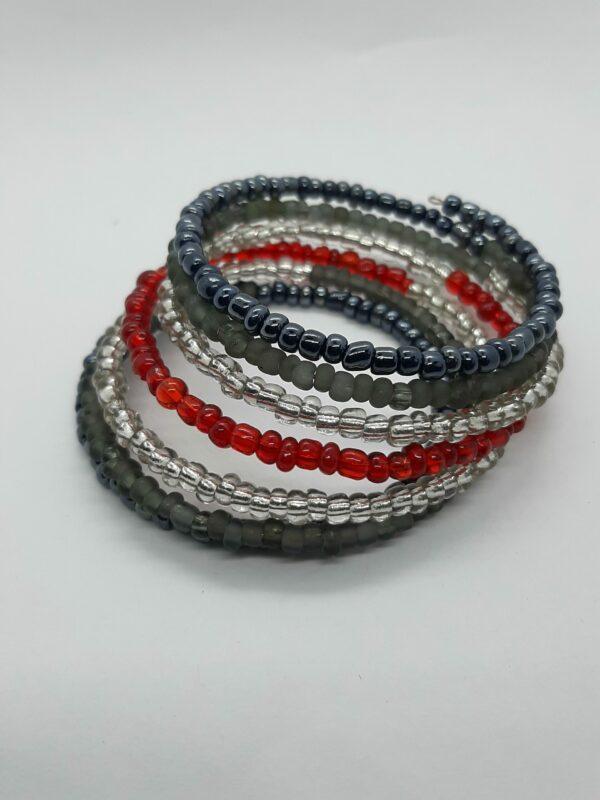 Wikkelarmband, rocailles, rood/zwart/grijs