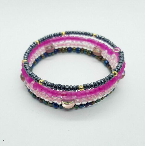 Wikkelarmband, roze/zwart