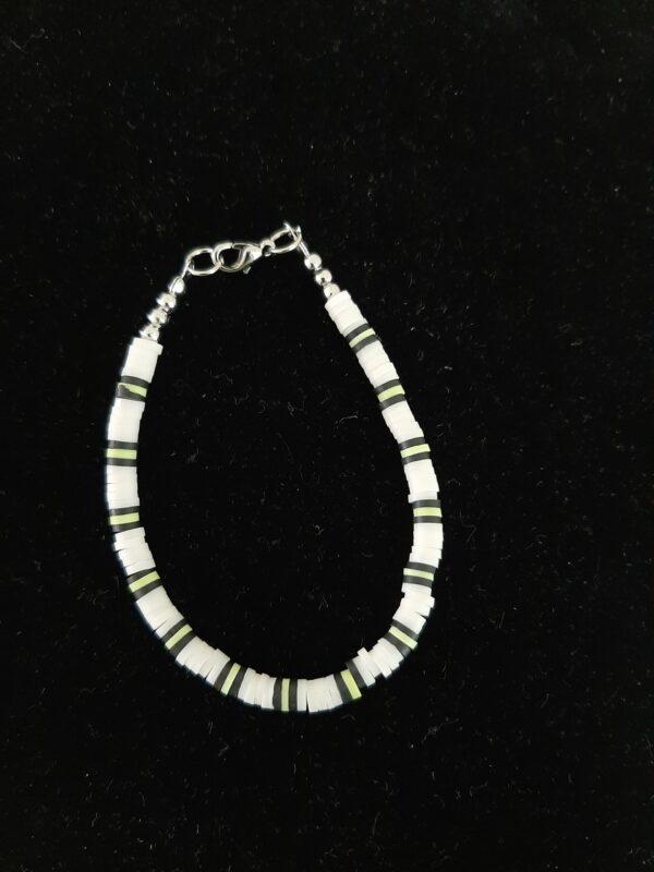 Polymeer, armband, groen/ wit/ zwart