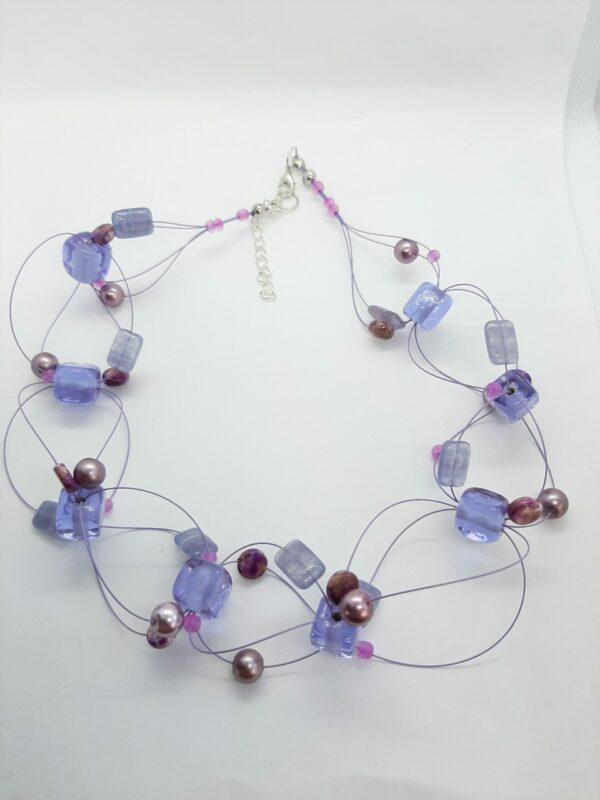 Kruisgeweven ketting, paars, glaskralen, glasparels, rocailles
