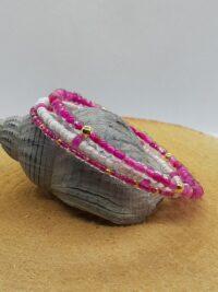 wikkelarmband, roze, rocailles