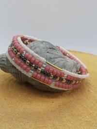 wikkelarmband, rocailles, miyuki seedbeeds, goudkleurige kraaltjes,