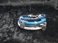 combi armband, blauw, kunstleer, bedels, rvs kralen