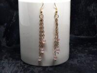 lange oorbellen, goudkleur, stainless steel, jasserson, cateye beads, roze