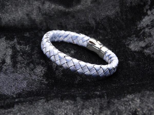 armband leer, blauwe, gevlochten leer, magneetsluiting