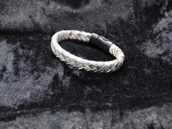 gevlochten leer, armband, rvs zwarte magneetsluiting