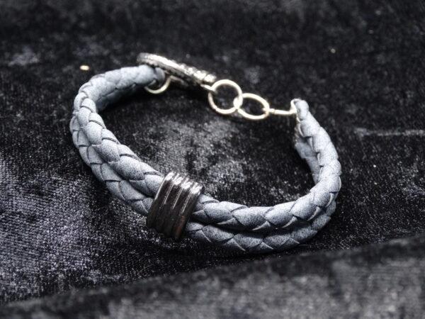 leren armband, leerschuiver, grijs
