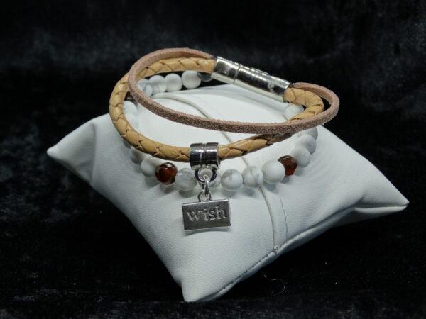 leren armband met natuursteen en suede, bruin, wit magneetsluiting