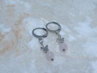 oorbellen, zilver, vlinder, rozenkwarts, stainless steel